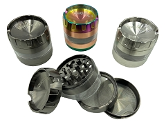 63mm 4 Part Colored Mixed Top Cut Middle Window Aluminum Grinder (Buy 6ct Display Box $7.99 each) MG-034