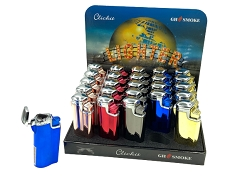 Multi Colored Shiny 3 Flame Torch Lighter 25ct Display Box GH-10878A
