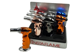 Colored Single Shiny Jet Torch w/ Stand 8ct Display Box GT-019