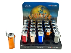 Shiny 3 Flame Colored Torch Lighters 25ct Display Box GH-10856