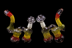 300Gr. 2 Chamber Rasta Glass Bubbler W/ Nail & Dome