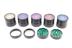 52mm 4 Part Colored Lightning Wheel Metal Grinder (Buy 6pc Display Box $5.99 each) GR142-52