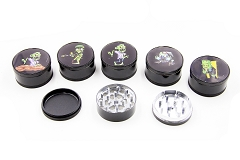3 Part 51mm Black Sticker Metal Grinders (Buy 12pc Display $1.99 each) B2B