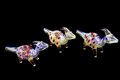 Colored Fumed Goat Animal Glass Pipe