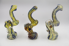 Striped Lining Colored Glass Bubbler