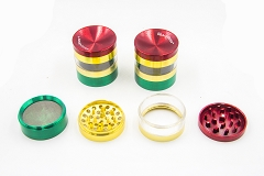 4 Part Rasta Grinder w/ Window (Buy 6ct Display Box $6.99 each) MG-028B