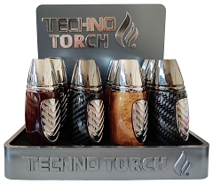 Techno Torch Patterned Design Torch Lighter 12ct Display Box 18707P