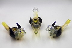 Colored Lining Fumed Bird Animal Glass Pipe