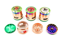 63mm 4 Part Rainbow Mixed Colored w/ Removable Window Metal Grinder (Buy 6pc Display Box $8.50 each) MG-042