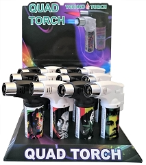 Techno Torch 4 Flame Bob Marley Colored Quad Torch Lighters 12ct Display Box 26340-BM