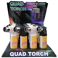Techno Torch 4 Flame Honey Colored Quad Torch Lighters 12ct Display Box 26340-BWH