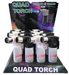 Techno Torch 4 Flame B.Woods Colored Quad Torch Lighters 12ct Display Box 26340-BWRC