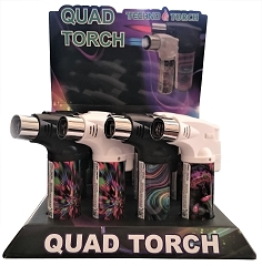 Techno Torch 4 Flame Psychedelic Colored Quad Torch Lighters 12ct Display Box 26340-PY