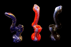 Maroon Swirl Lining Solid Colored Glass Bubbler