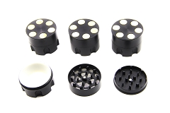 51mm 3 Part Black Revolver Metal Grinder (Buy 12pc Display Box $3.75 each) GR031-2BK