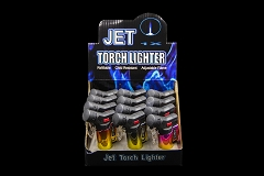 Shiny Side Jet Torch Lighter Mixed Colored 12ct Display Box J9474-SH