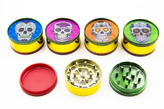 51mm 3 Part Candy Skull Rasta Mixed Metal Grinders (Buy 12pc Display Box $1.99 each) GR041-CSK3D