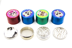 55mm 4 Part Candy Skull Mixed Colored Metal Grinders (Buy 12pc Display Box $3.99 each) GR104-55CSK