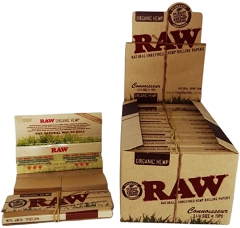 Raw Connoisseur Organic Classic 1 1/4 Papers + Tips 24ct Box