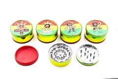 51mm 3 Part Rasta Bob Marley Design Metal Grinder (Buy 12pc Display Box $1.99 each) GR041-CRT