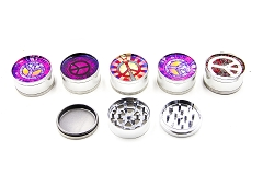 51mm 3 Part Peace Freedom Design Metal Grinder (Buy 12pc Display Box $1.99 each) GR041-FPE