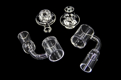 5mm Quartz Flat Bottom w/ Clear Carb & 2 Beads Banger