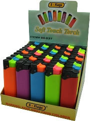 5 Flags Colored Soft Touch Torch Lighter 50ct Display Box 80-83T
