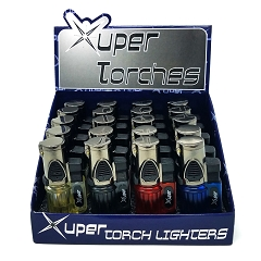 Xuper Torch Transparent Colored 3 Flame Torch Lighter 20ct Display Box 98-1119