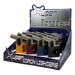 Xuper Torch Colored Angle 2 Flame Torch Lighter 20ct Display Box 98-829