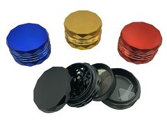 63mm 4 Part Colored All Edge Design Cut Aluminum Grinder 12623