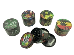 50mm 4 Part Bob Marley & Leaf Mixed Designs Black Aluminum Grinder (Buy 12ct Box $4.50 each)
