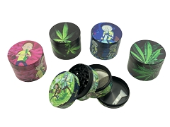 50mm 4 Part Rick Morty & Leaf Mix Designs Aluminum Grinder (Buy 12ct Box $4.50 each)