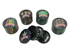 56mm 4 Part Black Backwoods Designs Aluminum Grinder (Buy 12ct Box $5.25 each)