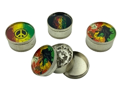 52mm 3 Part Rasta Stickers Bob Marley Aluminum Grinder (Buy 12ct Box $1.99 each)