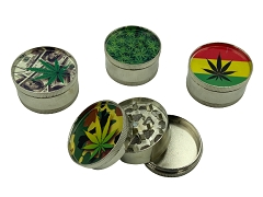 52mm 3 Part Mixed Leaf Design Aluminum Grinder (Buy 12ct Box $1.99 each)