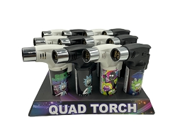 Techno Torch Rick & Morty 4 Flame Torch Lighter 12ct Display Box 26340-RM2