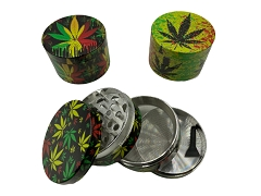 63mm 4 Part Mixed Leaf Rasta Design Aluminum Grinder (Buy 6ct Display Box $6.25 each) TG-RA1