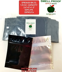 Apple Bags 3.6x5x1.5 Smell Proof Black & Clear 50ct Pack