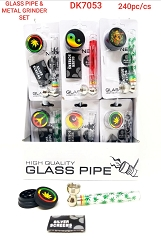Glass Pipe, Metal Grinder & Screens Set (Buy 24ct Display Box $2.75 each) DK7053