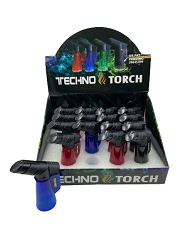 Techno Torch Transparent Single Flame Torch Lighter 16ct Display Box 10701T