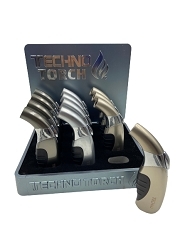 Techno Torch Slanted Rubber Grip Metal Torch Lighter 12ct Display Box 17049M