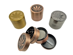 40mm 4 Part Top Leaf Matte Finish Aluminum Grinder GRZ004-1 (Buy 12ct Box $3.75 each)