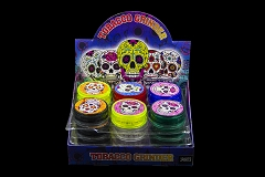 3 Part 60mm Candy Skull Sticker Plastic Clear Grinder (Buy 24pc $0.85 each) GR044-SK