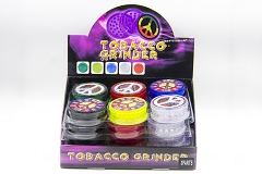 3 Part 60mm Peace Sticker Plastic Clear Grinder (Buy 24pc $0.85 each) GR044