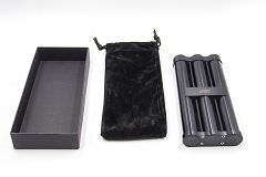 Black Metal Finish 3 Cigar Holder w/ Box JF031A