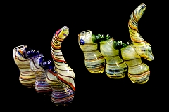 410Gr. 3 Chamber Top Colored Glass Bubbler