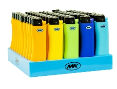 MK Grip Assorted Colors Replaceable Flint Non Slip Rubber Finish Lighter 50ct Box ZY-9G
