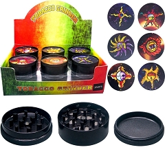 51mm 3 Part Black Sun Image Aluminum Grinder (Buy 12ct Display Box $2.75 each) GR041-BSU