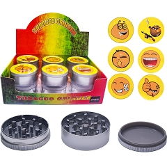51mm 3 Part Matte Smiley Face Aluminum Grinder (Buy 12ct Display Box $2.75 each) GR041-MSM