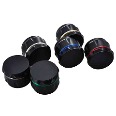55mm 4 Part Black Base Diff. Colored Outlined Metal Grinder (Buy 12ct Display for $5.50 each) GRZ101-1BM